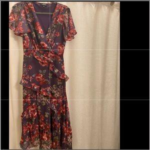 Lulu's Purple Floral Long Dress